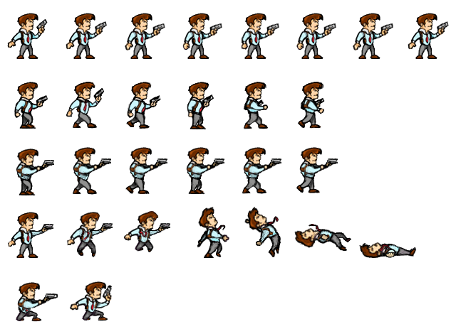 The sprites used in the tutorial