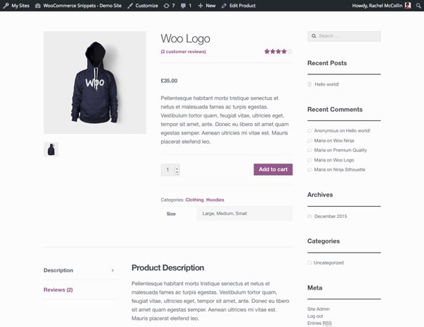 WooCommerce product page - product attributes with product short description in table