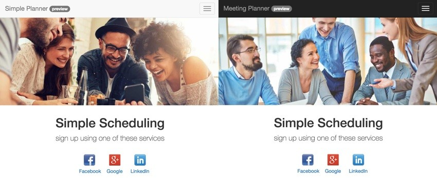 Building Your Startup Multiple Domains - Side by side looks at Simple Planner vs Meeting Planner home page