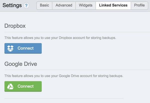 ManageWP Dropbox and Google Drive