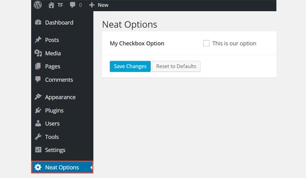 A checkbox in the Neat Options