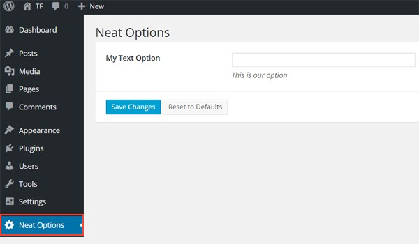 Text Input in the Neat Options