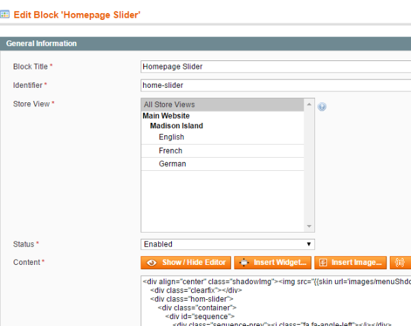 Creating Homepage Slider Static Block