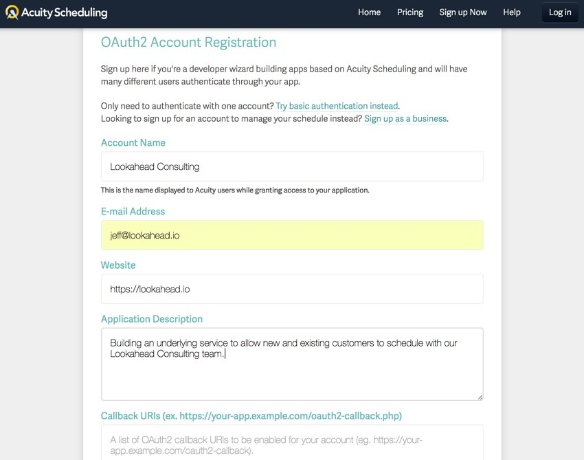 Acuity Scheduling Developer API - OAuth2 Account Registration