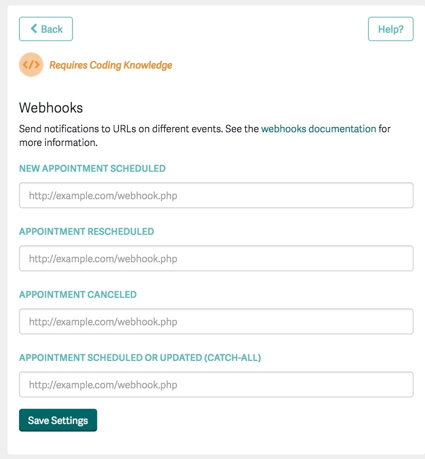 Acuity Scheduling Developer API - Registering Your Application Webhooks